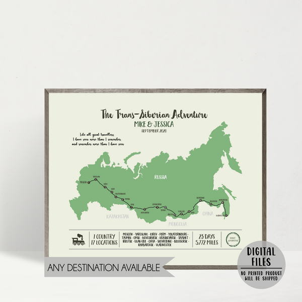 train travel map-train trip map-personalized map