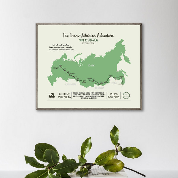 trans-siberian railway map-train travel map-personalized gift for traveler