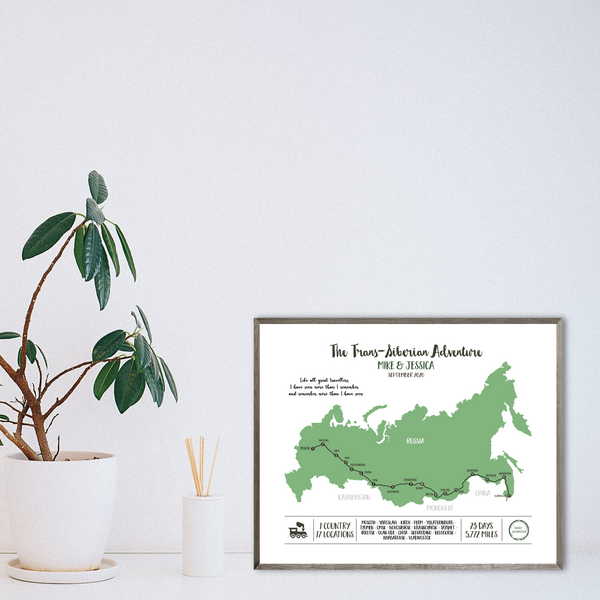 custom travel map-personalized gift for traveler-railway map print