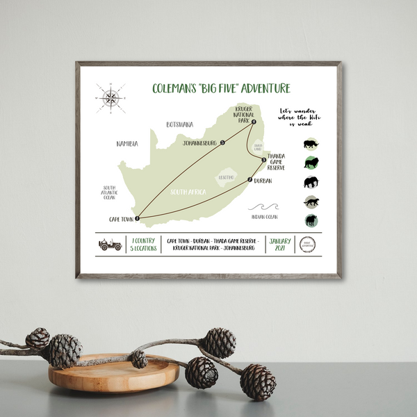 personalized travel map-custom trip map-africa travel map-travel gift