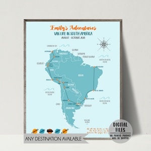 personalized travel map-backpacking map-gift for backpacker