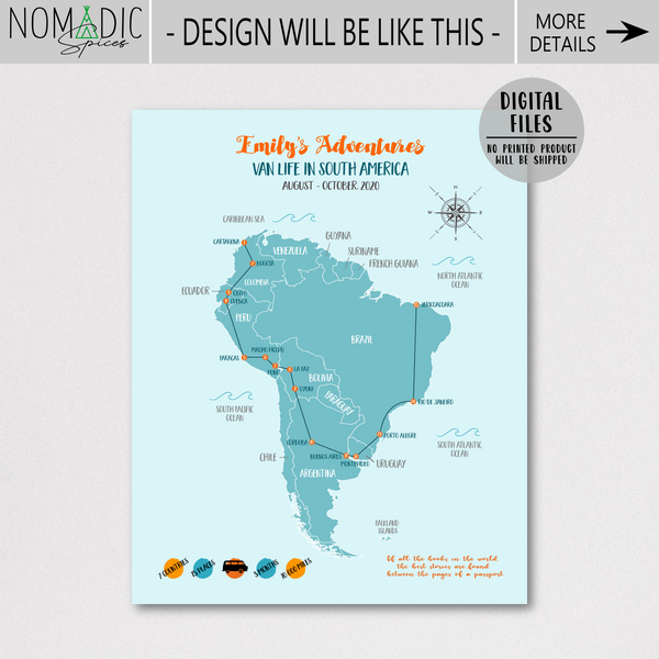 personalized map-gift for backpacker-south america travel map
