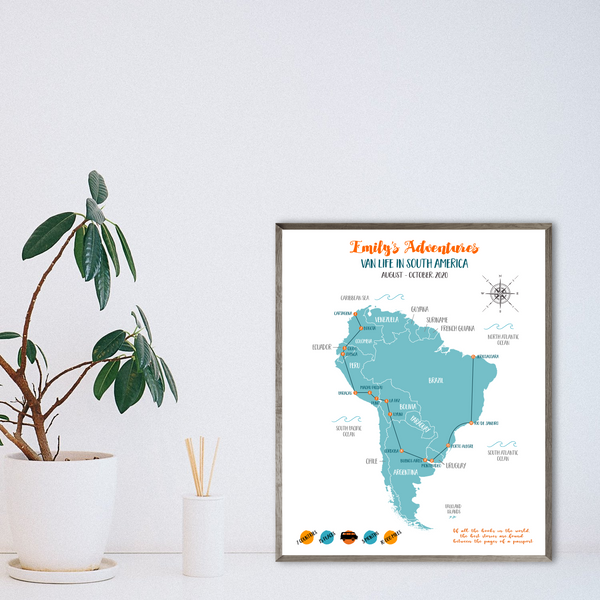 south america map-personalized gift-backpacking map print