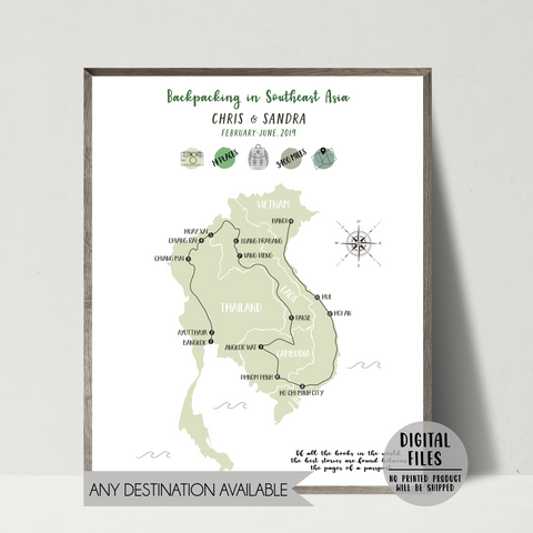 personalized travel map-southeast asia backpacking map-gift for traveler