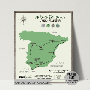 personalized travel gift-custom trip map-spain map