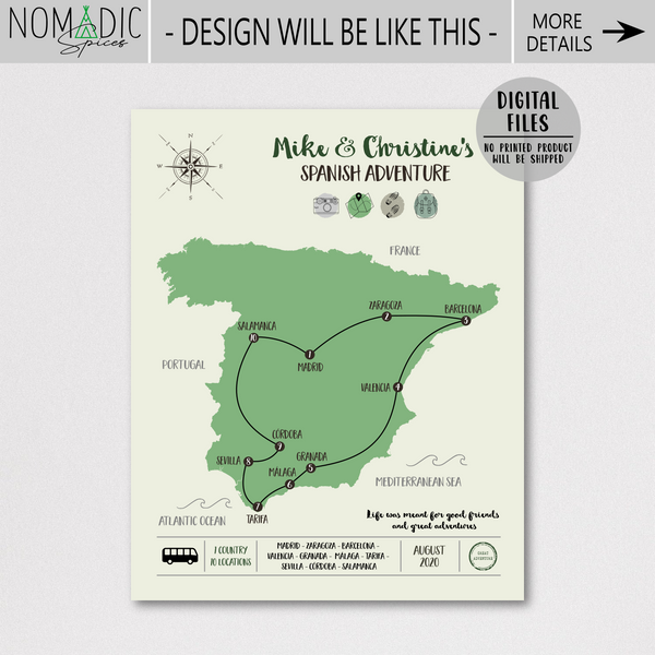 personalized travel map-custom trip map-spain travel map