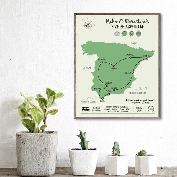customized travel map-personalized gift for traveler-travel map print