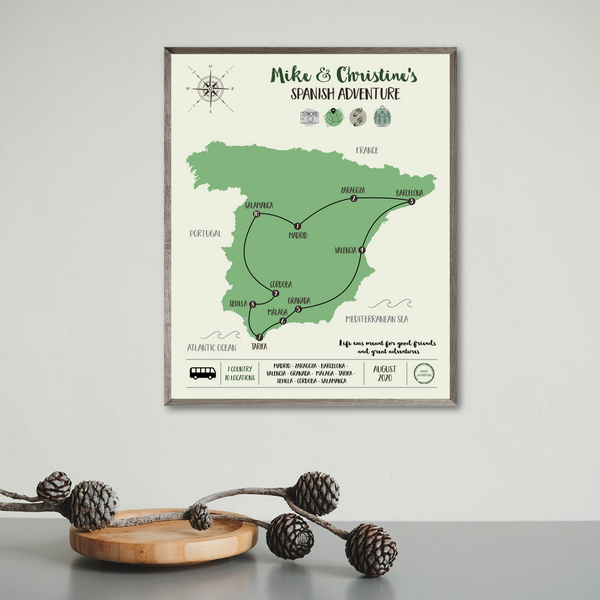 personalzied travel map-travel gift ideas-spain map poster