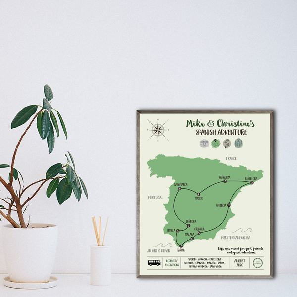 spain travel map print-personalized trip map poster