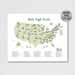 State high points map - usa peaks map