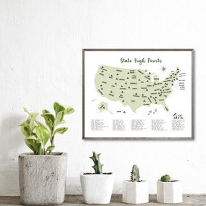 State high points map - gift for hiker