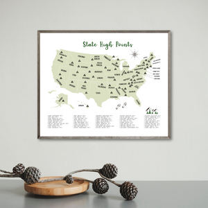 State high points map - usa map - hiking gift ideas