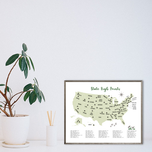 State high points map - travel gift ideas