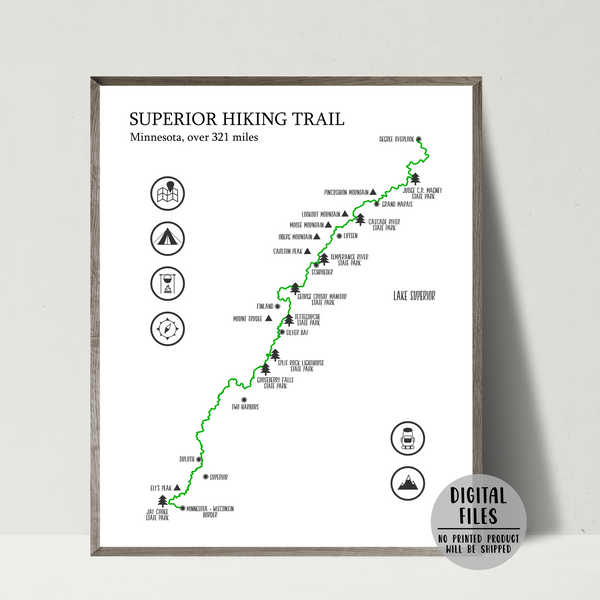 superior trail map print-superior hiking trail poster
