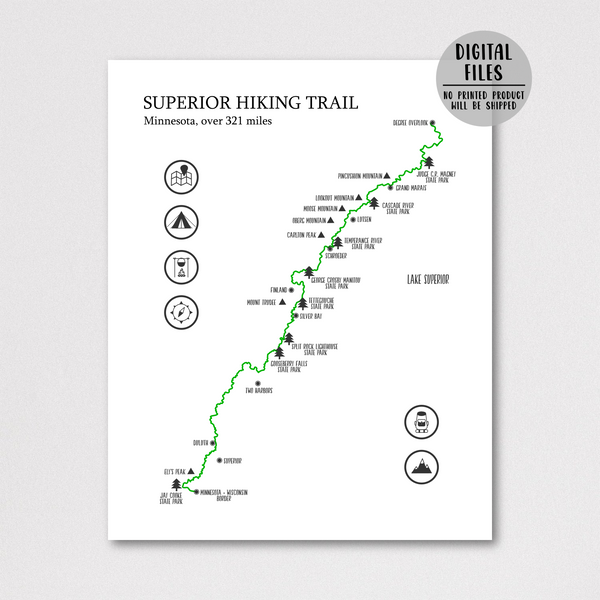 superior trail hiking map-superior trail map poster