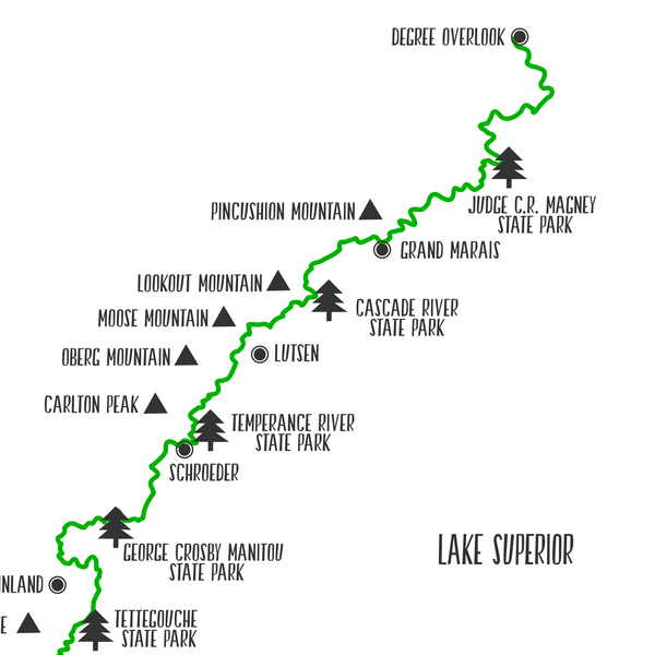 superior hiking trail map-superior trail map print