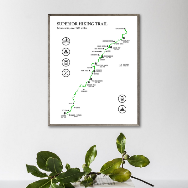 superior trail hiking map-superior trail map print-gift for hiker