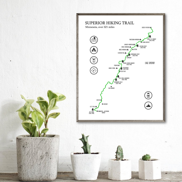 superior trail map poster-superior hiking trail map print-hiking gift ideas