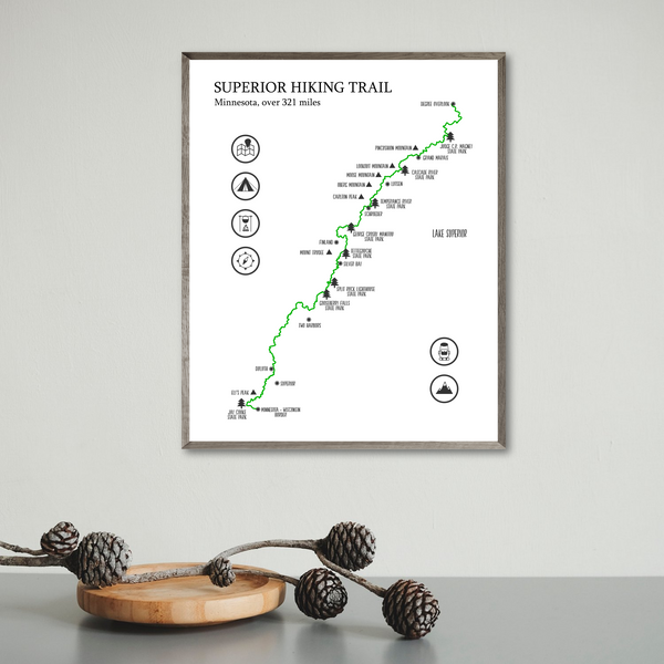 superior trail map print-gift for adventurer-superior hiking trail map