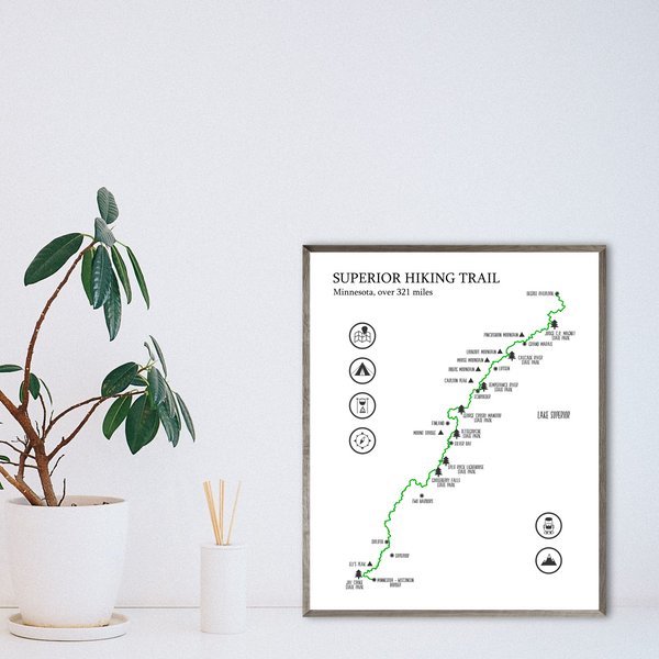 the superior trail poster-superior trail map-hiking map print