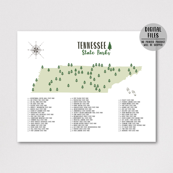 tennessee state parks map print-gift for hiker