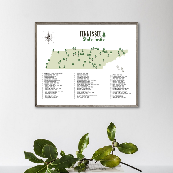 tennessee state parks map print-gift for traveler