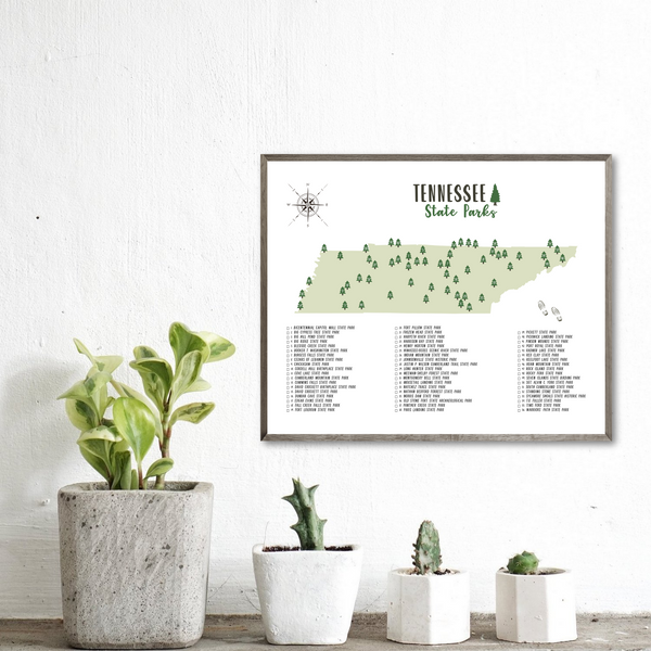 tennessee state parks map poster-hiking gift ideas