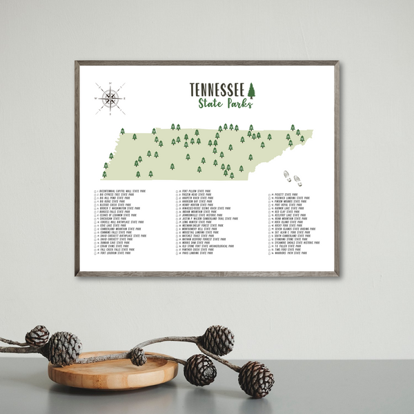 tennessee state parks map print-travel gift ideas