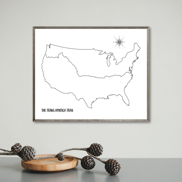 trans america trail map-gift for biker