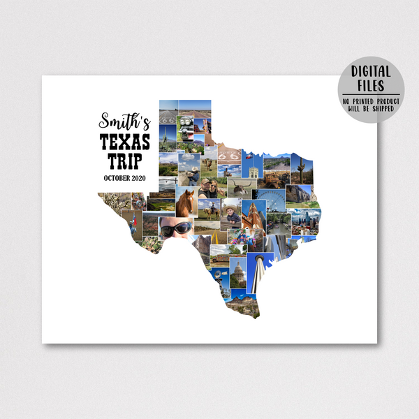 personalized collage-travel map collage-custom photo collage