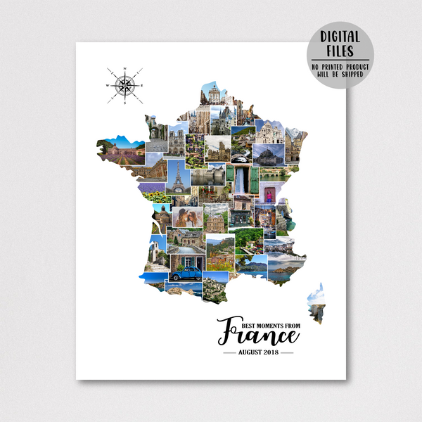 france photo collage-custom photo collage-map collage-gift for traveler