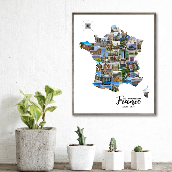 personalized photo collage-custom collage-travel map gift