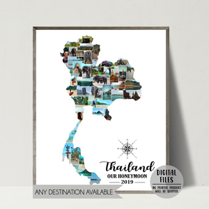 thailand photo collage-honeymoon trip map collage