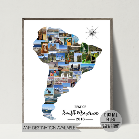 travel map photo collage-personalized gift for backpacker
