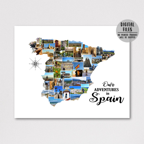personalized phot ocollage-custom collage-travel map gift