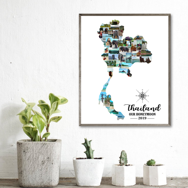 travel map collage-custom photo collage-travel gift ideas
