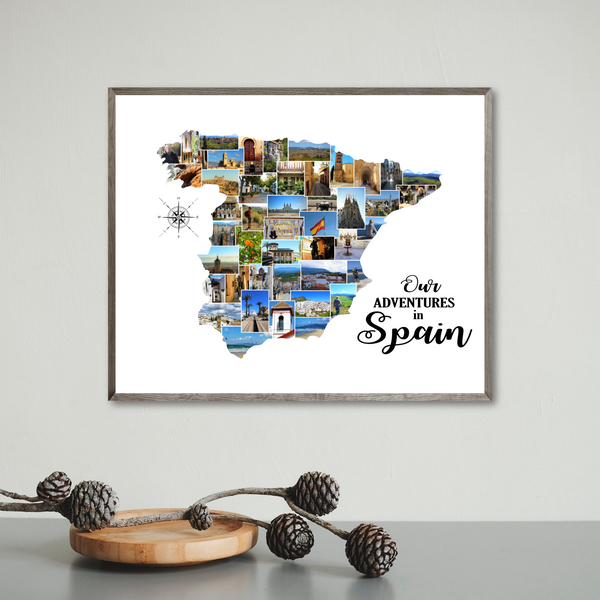 spain photo collage-personalized gift for traveler-map collage