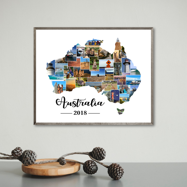 custom travel collage-map photo collage-gift for traveler