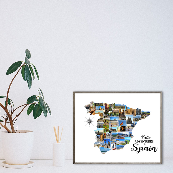 custom photo collage-travel map collage-adventure gift