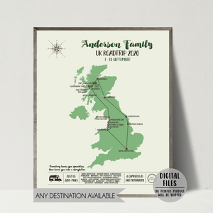 personalized travel map-united kingdom map print-
