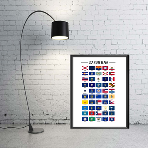 Usa State Flags Print-50 US States Flags Printable