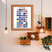 Usa State Flags-50 US States Flags-Wall Art Print