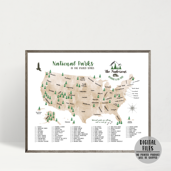personalized national parks map-usa national parks checklist