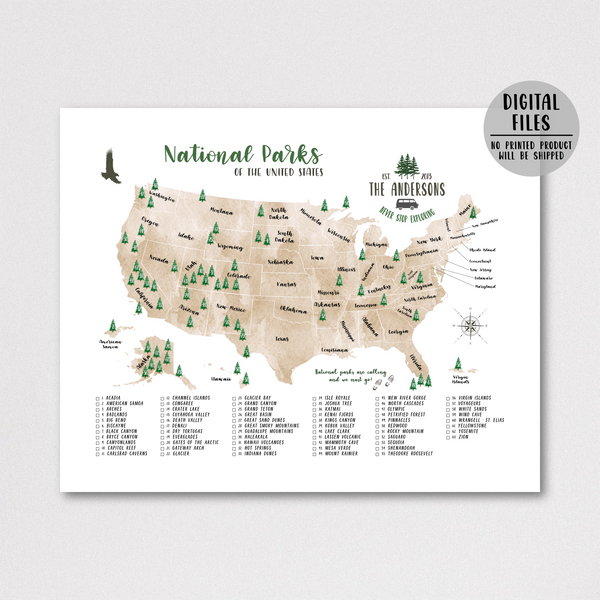 usa national parks map-personalized map-watercolor map