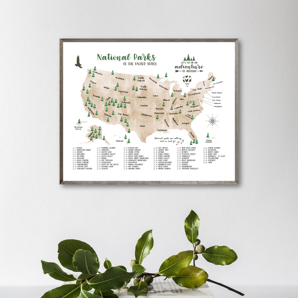 personalized map-national parks of united states map