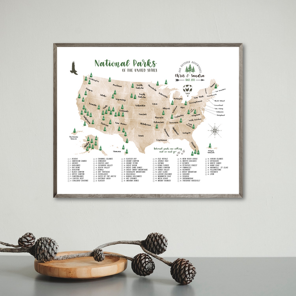 personalized map-national parks map-gift for traveler