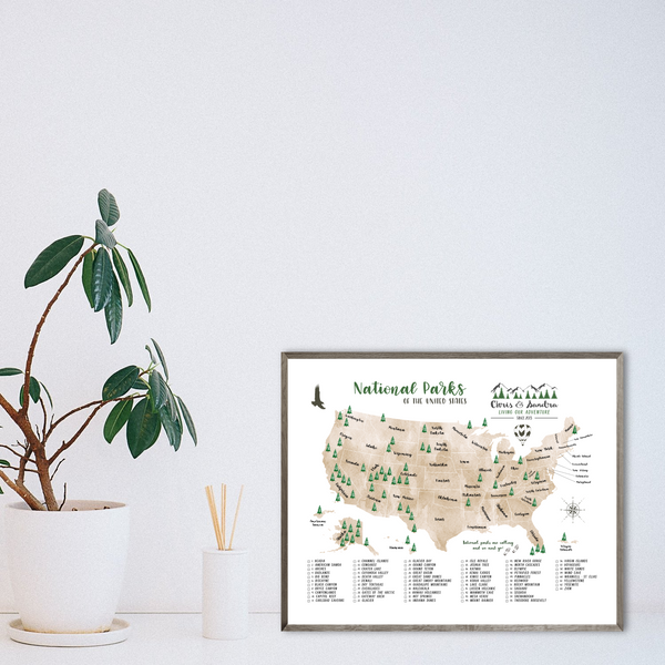 national parks map print-personalized map gift