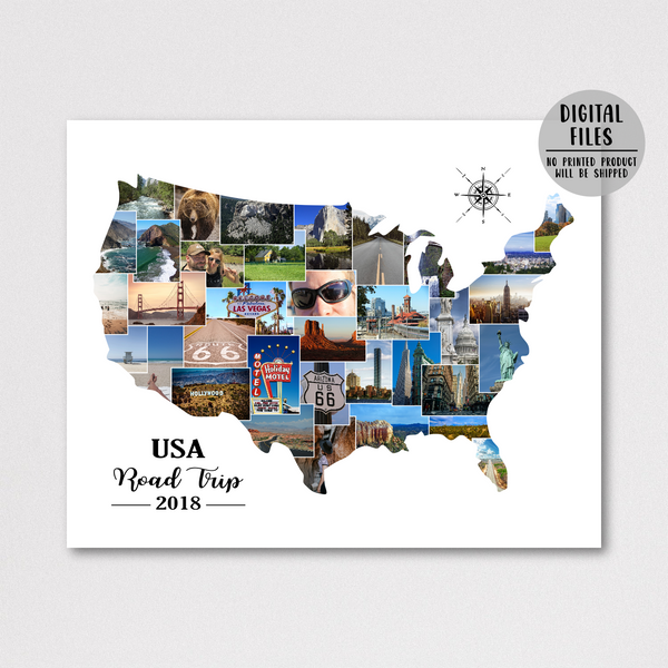 USA photo collage-travel collage-map photo collage