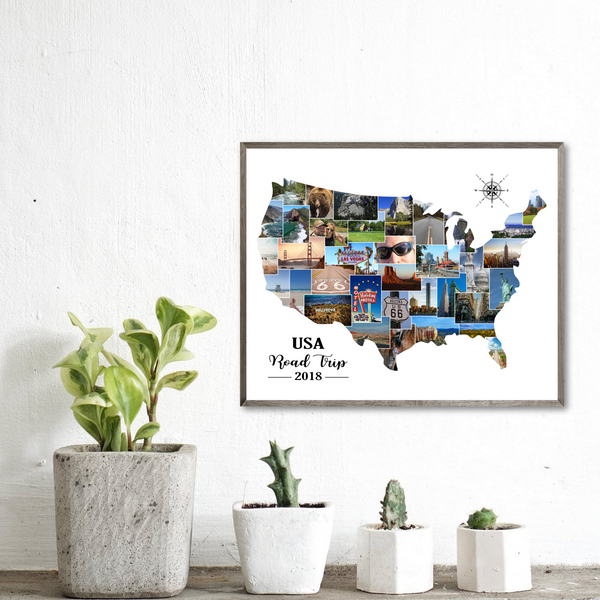 map photo collage-personalized travel collage-gift for traveler