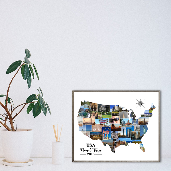 personalized travel collage-usa photo collage-map collage